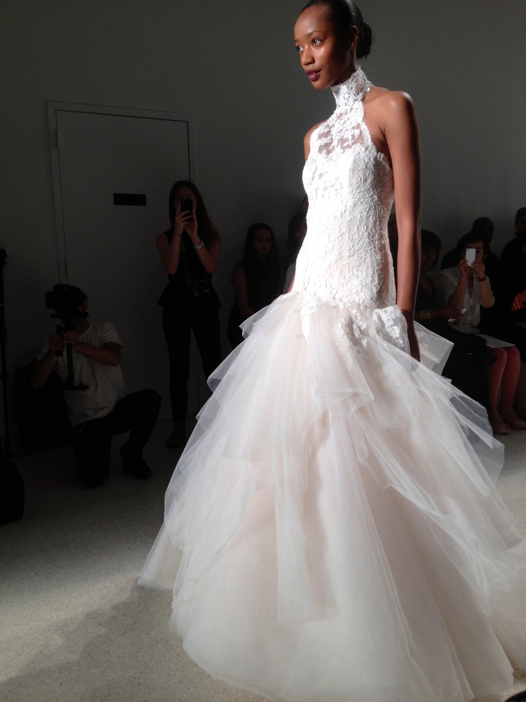 Lace and tulle wedding dress by Kenneth Pool fall 2014