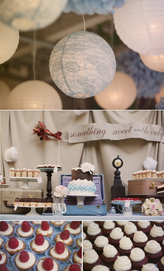 Lace wedding reception lanterns, vintage-inspired dessert table