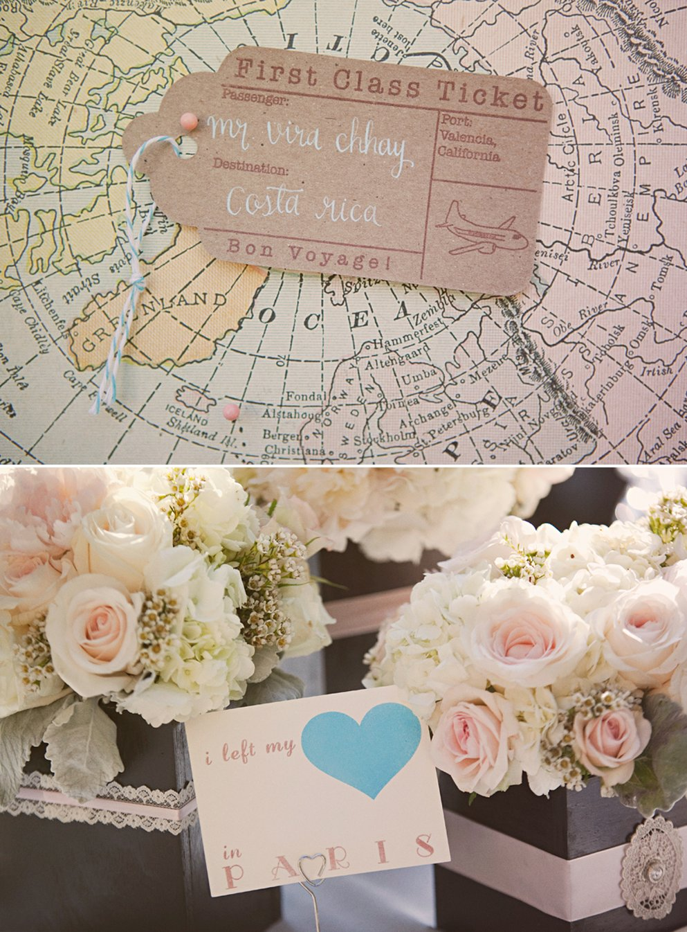 Travel themed vintage wedding