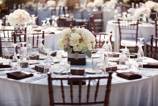 Elegant outdoor wedding reception decor