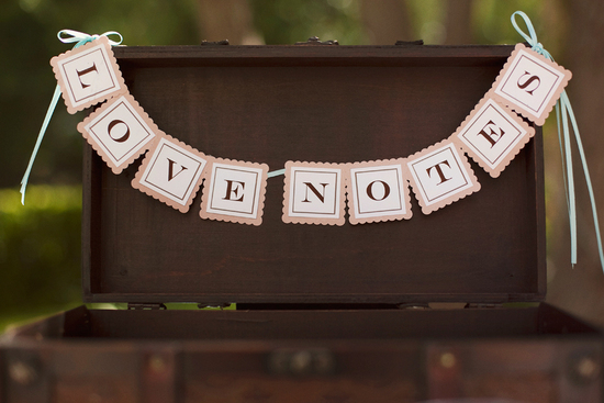 Love Notes trunk at wedding reception