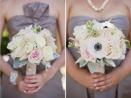 Elegant bridesmaids dresses and bouquets