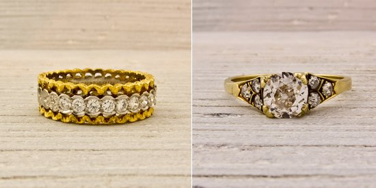 Vintage wedding bands and gold and diamond engagement ring