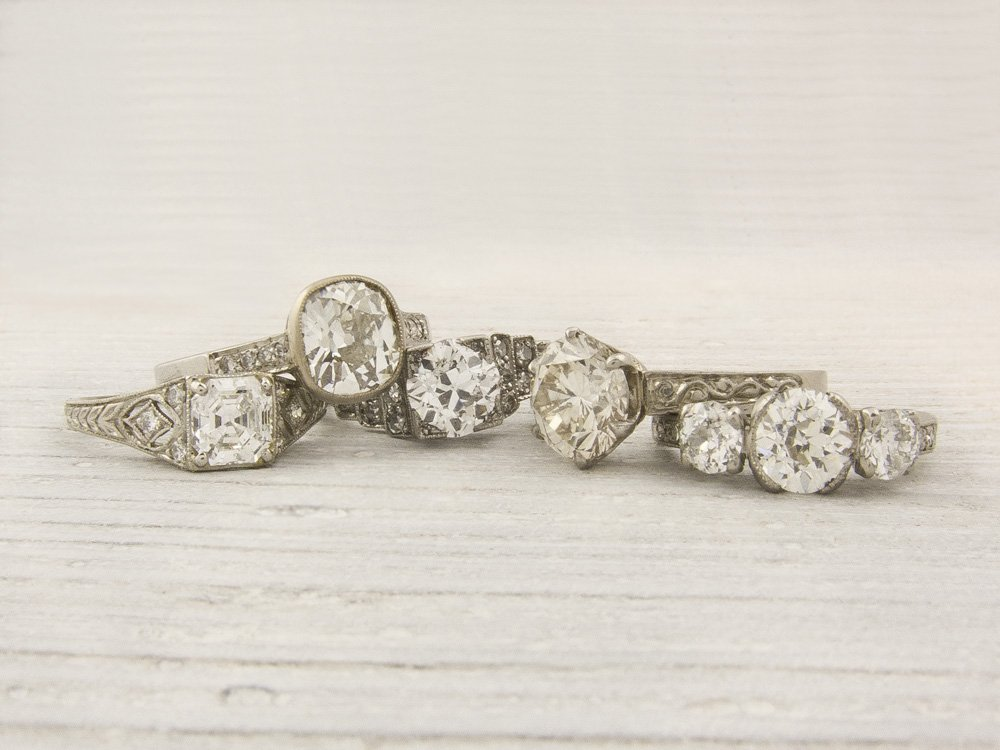 vintage and platinum engagement rings onewed