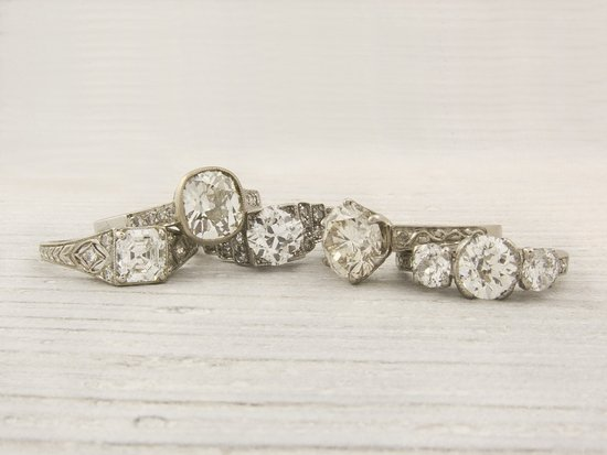 Vintage diamond and platinum engagement rings