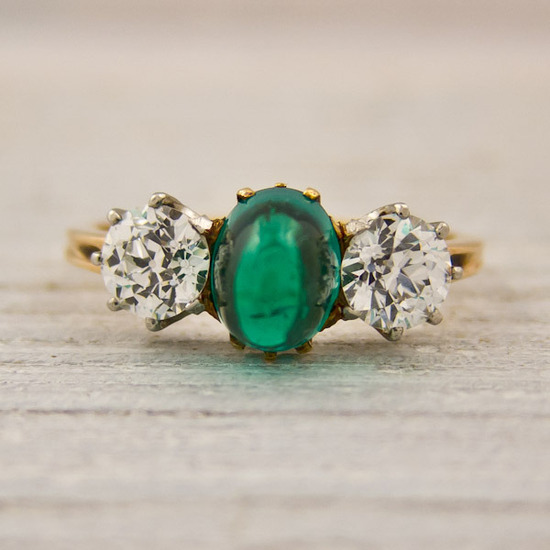 Antique Sugarloaf Emerald and Diamond Engagement Ring