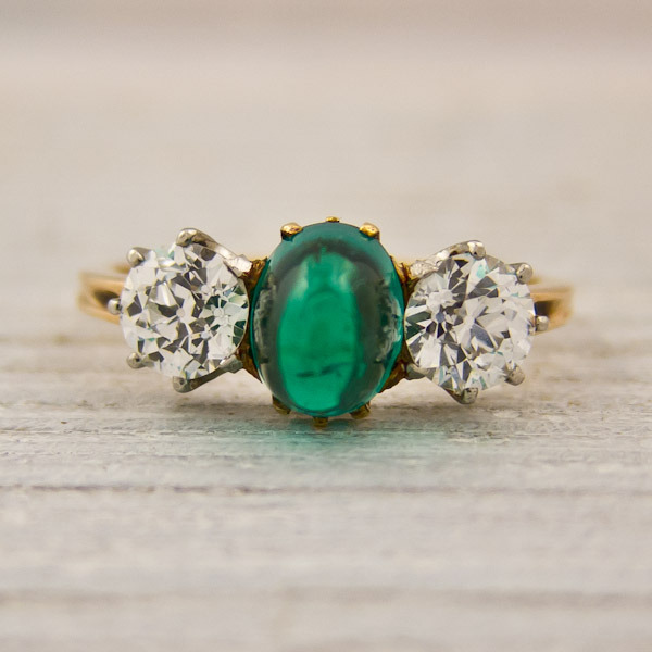 antique sugarloaf emerald and engagement ring