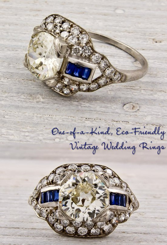 Vintage platinum engagement ring with round center diamond and sapphire side stones