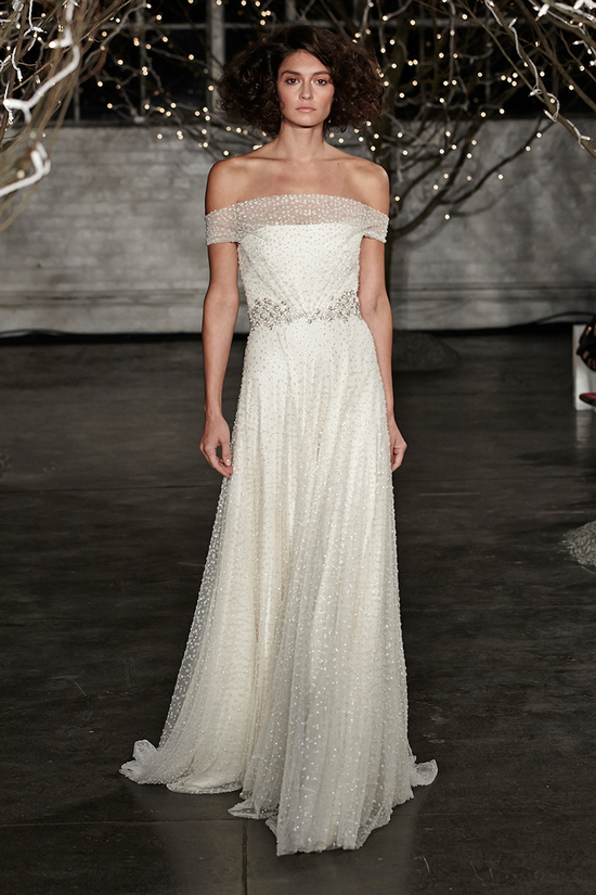 Jenny Packham Spring 2014 wedding dress with off the shoulder neckline