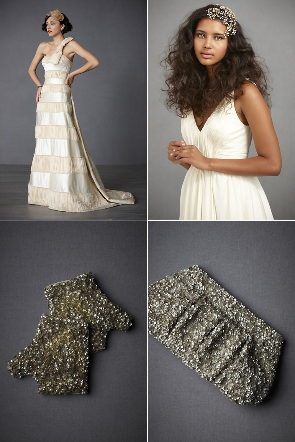 Champagne BHLDN wedding dress, sparkly metallic bridal gloves and clutch