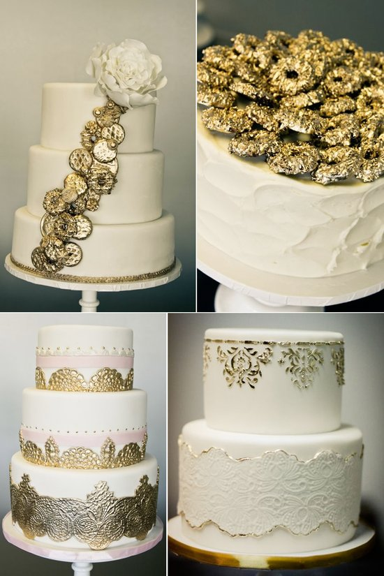 Elegant ivory wedding cakes with gilded gold details