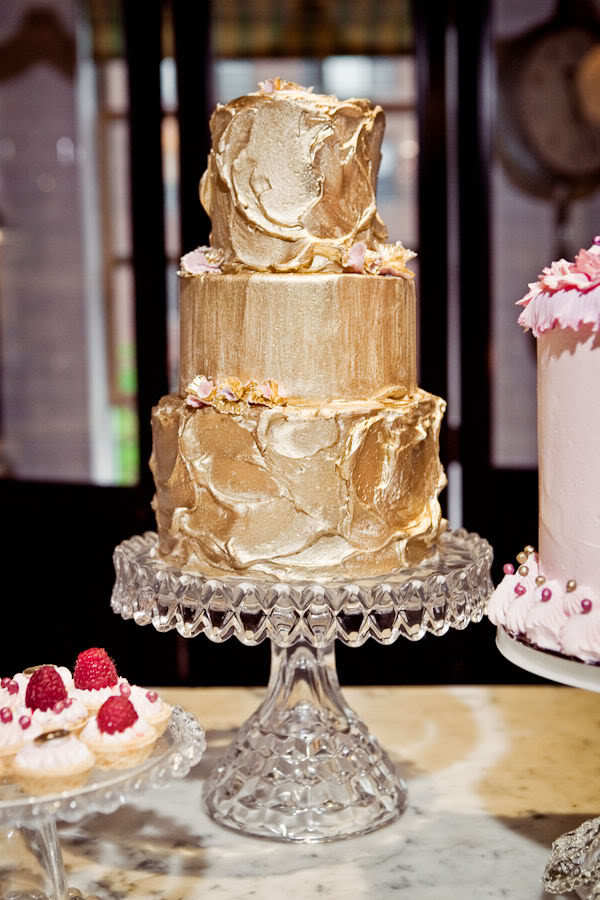 Gilded gold wedding cake