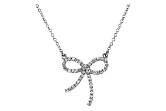 Delicate platinum and diamond bow necklace for the bride or bridesmaids