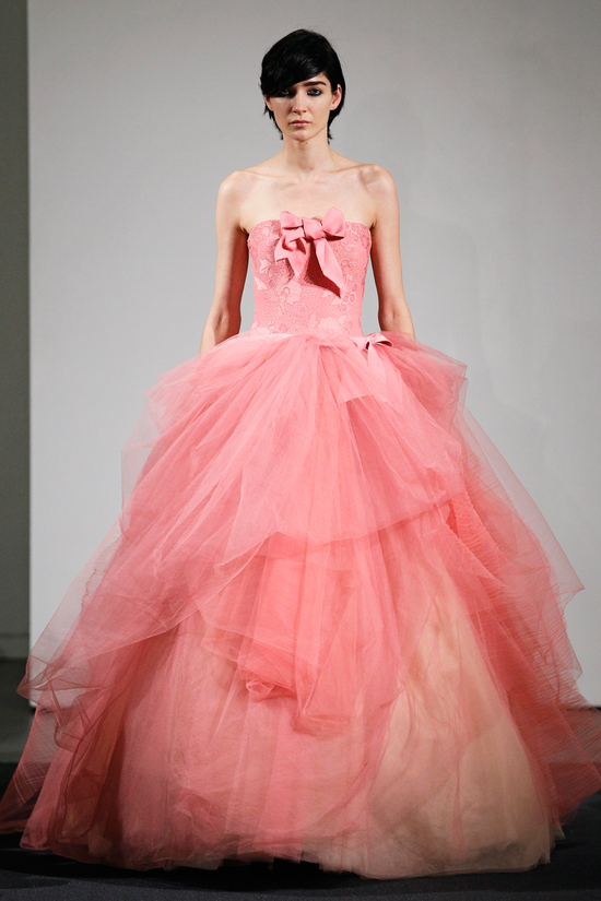 Pink Ball Gown Coral Wedding Dress