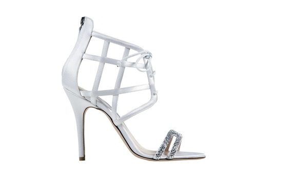 Dahlia white caged lace up wedding shoe with crystals