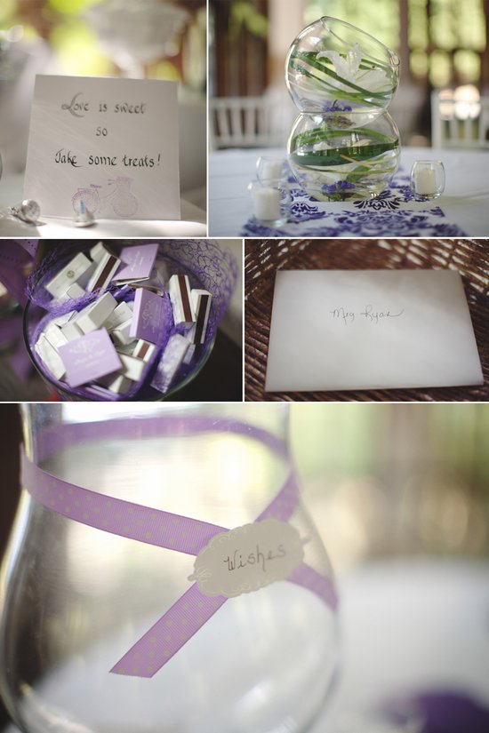 Lilac and ivory real wedding- reception decor, unique centerpieces