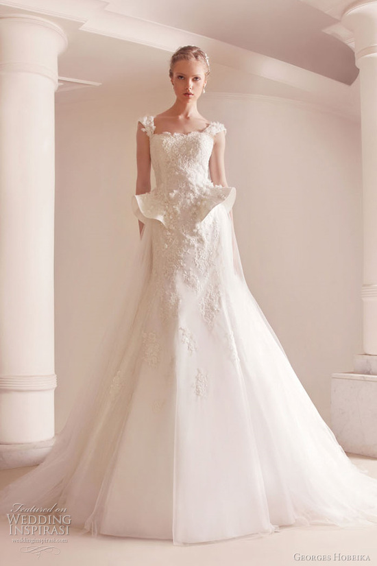 A-line cap sleeved wedding dress with lace applique and peplum
