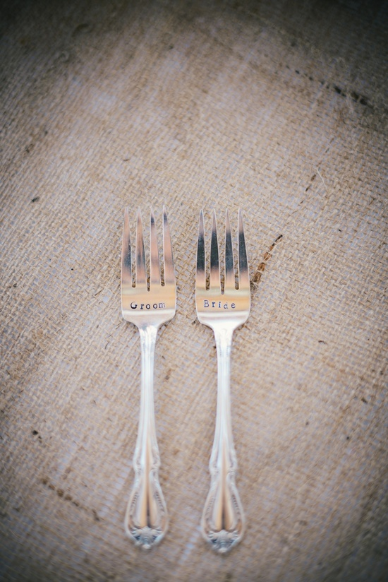 bride and groom vintage forks photographed on rustic burlap