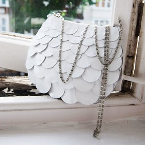 photo of White leather bridal evening bag by BiChen