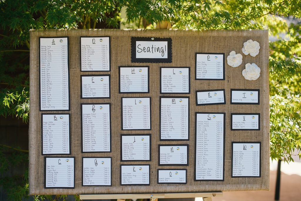 Rustic-wedding-escort-display-on-burlap-board.full