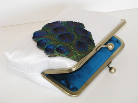 Classic white wedding clutch with peacock feathers