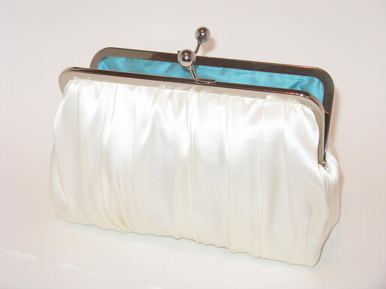 Classic white silk dupioni wedding clutch ith something blue inside