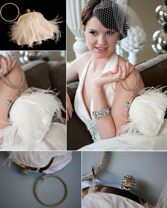 Feather-embellished vintage wedding clutch