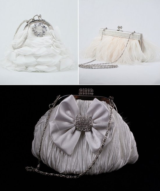 Embellished bridal clutches with feathers, pearls and vintage beading