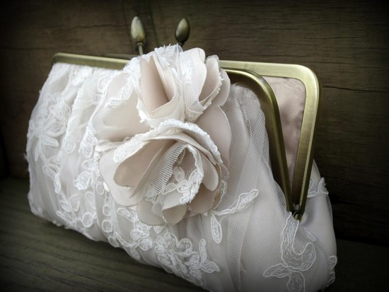 Romantic lace and floral applique wedding clutch for the bride