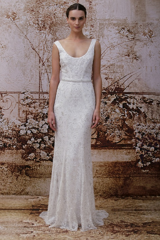 Simple Scoop Neck Wedding Dress