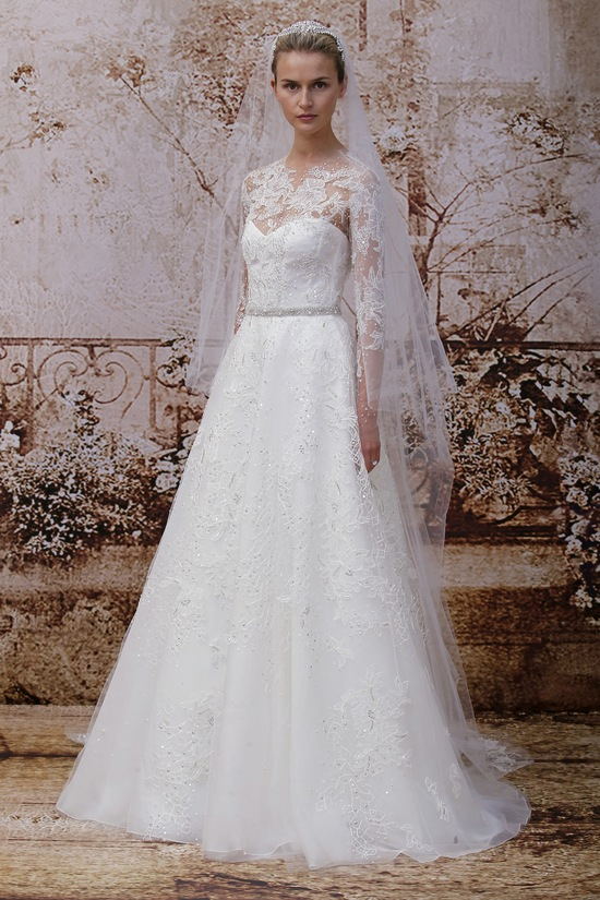 Wedding dress by Monique Lhuillier Fall 2014 bridal Look 21