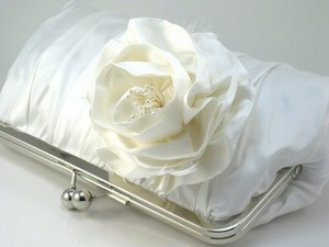 photo of Ivory Rosa Iceburg wedding clutch by Davie and Chiyo