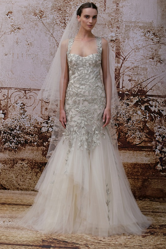 Wedding dress by Monique Lhuillier Fall 2014 bridal Look 28