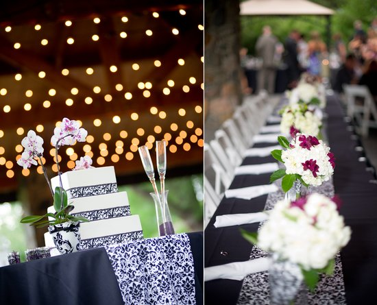 White wedding cake, black and white damask wedding reception tablescape