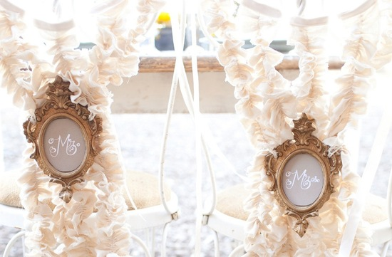 regal ruffly wedding chair decor for the mr and mrs