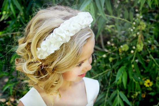 Ruffled ivory flower girl headband