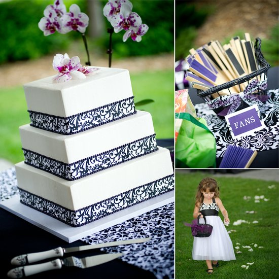 White wedding cake with damask pattern, orchid wedding flowers