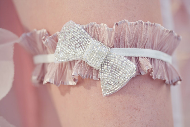 blush pink with pearl ruffled bridal garter