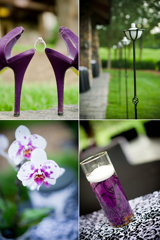 Purple wedding shoes, diamond engagement ring, simple DIY wedding centerpieces