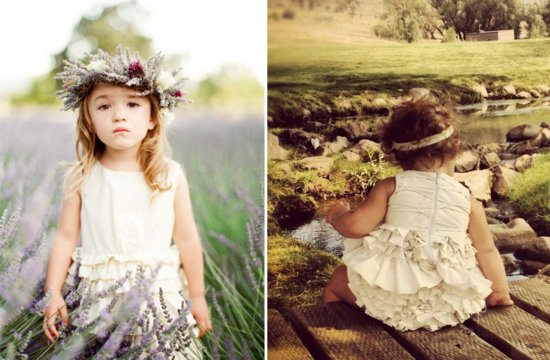 ivory flower girl dress with ruffle details