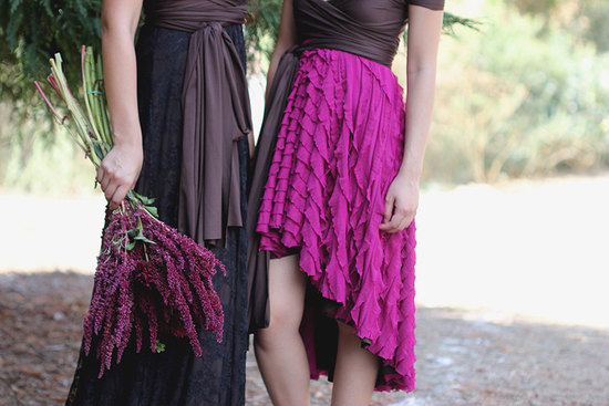versatile wrap bridesmaids dresses with ruffled skirt