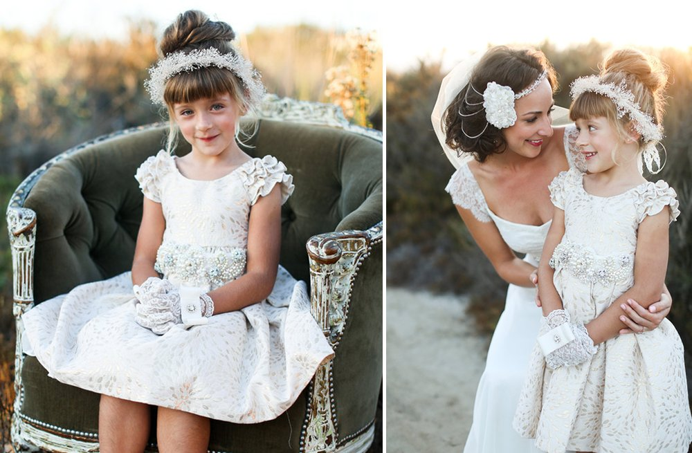 Eembellished lace flower girl dress with ruffled cap sleeves