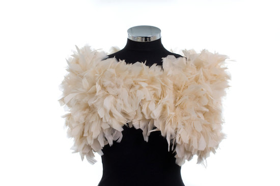 ruffled feather wedding shrug in cream