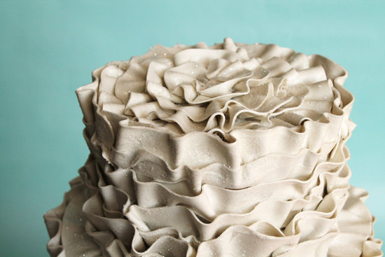 Ecru Glitter Fake Ruffle Wedding Cake