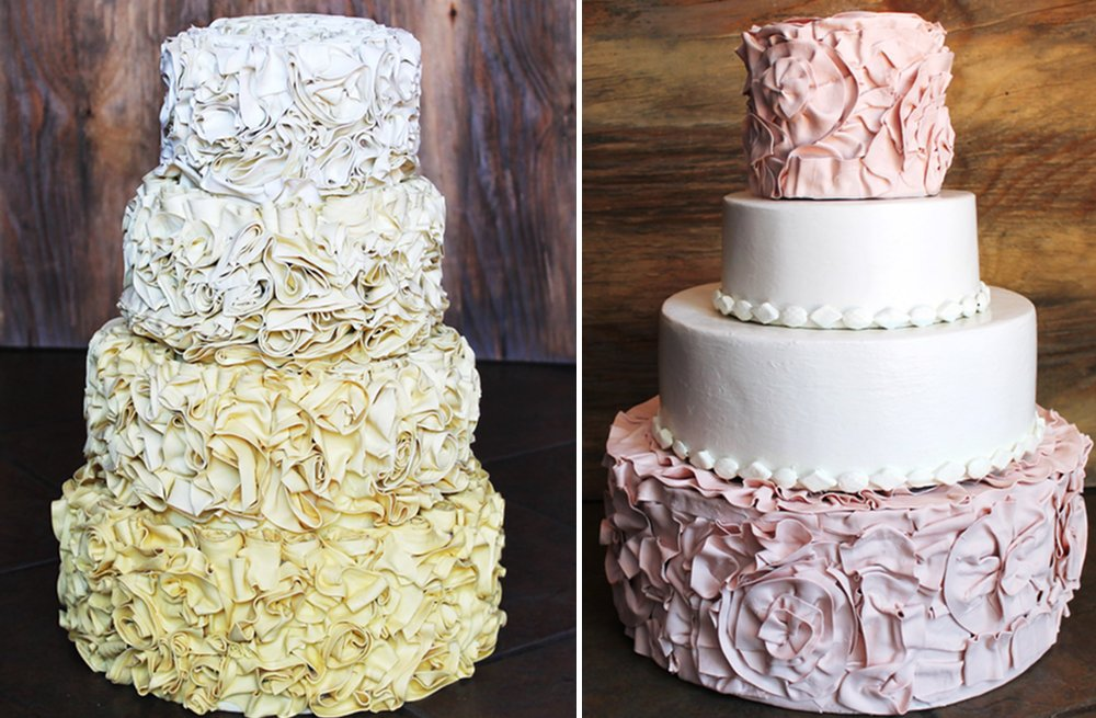 Yellow-ombre-and-pink-and-ivory-ruffled-wedding-cakes.full