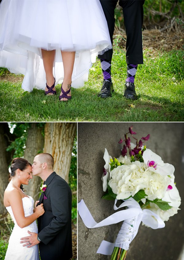 Bride lifts white wedding dress, shows off purple wedding shoes