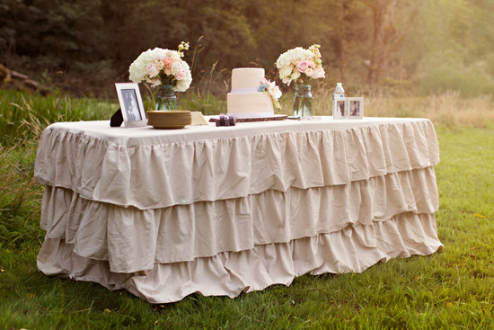 khaki ruffle wedding dessert table linens