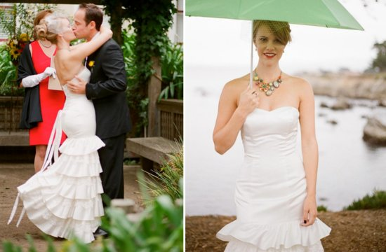photo of ruffled sweetheart neckline wedding dress for outdoor weddings