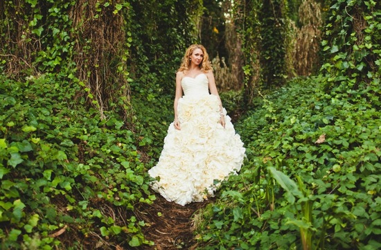 Floral ruffles ivory wedding dress
