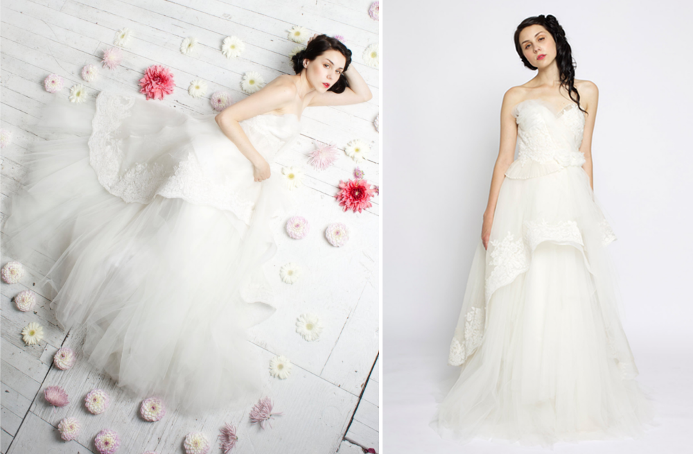 Layered Tulle Wedding Dresses : Layered ruffled lace and tulle wedding gown onewed
